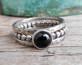 Stackable Black Onyx Ring Set - Sterling Silver Stackable Rings - Black Onyx Ring - Stackable Ring Set for Women