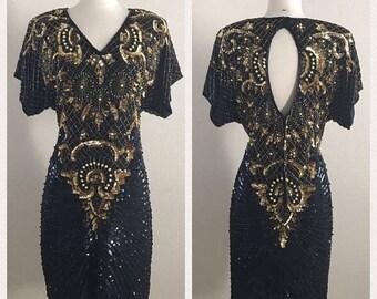 SHOP SALE Vintage Laurence Kazar 80s Cocktail Dress Little Black Dress with Gold Beading - Size Medium Large
