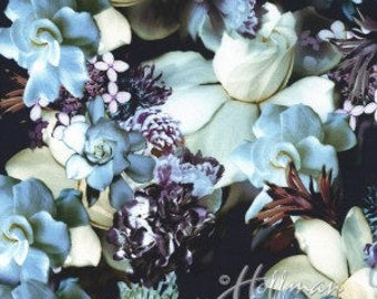 Moonstruck Pattern Digital Print Fabric - Blue and White Gardenia Blooms With Floral Accents by Hoffman Fabrics 100% Cotton - Half Yard