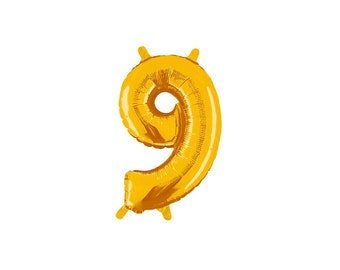 Number Nine Gold Foil (Mylar) Balloons - 14 Inch Air Fill Only - Hanging Decorations Party Supplies