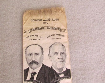 1904 Democratic Parker and Davis Campaign Ribbon Very Rare
