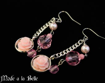 Light Pink Rose, Facet and Pearl Bead dangle earrings
