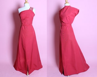 GLAMOROUS Early 1940's Rose Pink Textured Silk Satin One Shoulder Evening Gown w Sequined Straps, Cropped Back Closure Bolero, Belt & Train