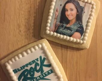 1 Dozen Customizable Graduation Photo Cookies