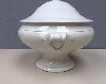 Large Antique French Ironstone Tureen soupiere. Soup Dish Jardiniere Planter. Antique Ivory Porcelain so elegant