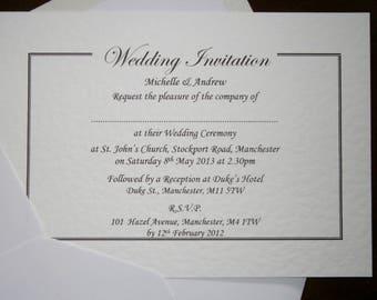 25 Personalised Wedding / Evening Invitations - White, Ivory - Postcard Style