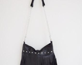 Black Leather Fringe Bag, Black Leather Fringe Purse, Fringe Cross Body Purse, Black Cross Body, Borse, Bourse, Cuir, Bolso Cuero, Tasche
