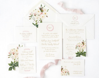 White Rose Wedding Invitation with White Rose Envelope Liners and Blush Pink Monogram Wreath - Monogram Wedding Invitation - SAMPLE SET