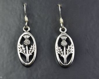 Sterling Silver Earrings with Scottish Thistle