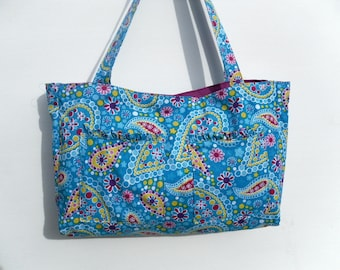 Purse was made of fabric / fancy print / your turquoise.