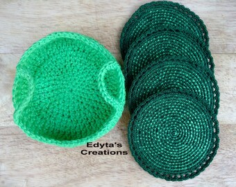 Crochet coasters with matching basket- crochet home decor, jute twine, house warming gift, mother's day gift, birthday present