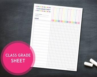 Printable Class Grade Sheet - INSTANT DOWNLOAD - Classroom Organization