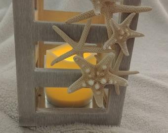 Coastal beach nautical candle battery operated seashell lantern