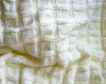 Knit Baby Blanket- Cream White, Antique White- Boy or Girl- Made To Order- Hand Knitted Afghan- Worsted Weight