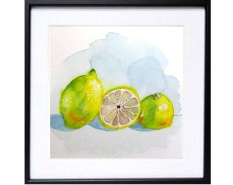 Kitchen, Art Prints, Fruit prints, Farmhouse, Wall art, decor, Watercolor fruit, Kitchen wall art, Lemons, Botanical prints, Sale, LaBerge