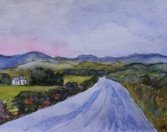 """Original Watercolor, """"Farmhouse"""", 5""""x7"""" Matted to 8""""by10"""""""
