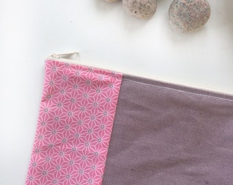 clutch purse purple waterproof laminated cotton linen