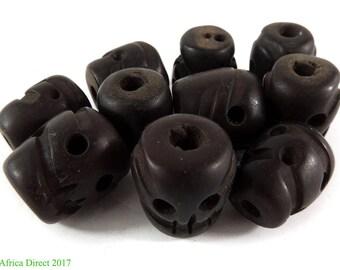 10 Tibetan Skull Beads Amber Color Resin Loose 117619