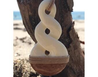 Maori Necklace, New Zealand Necklace, Hawaiian Necklace, Koa Wood Necklace, Wood Carving Necklace, Maori Necklace, White Twist Necklace Gift