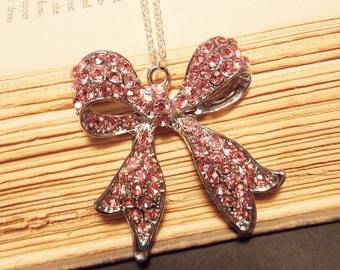 Pink and Silver Bow Necklace