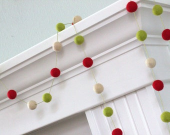 Christmas Garland Felt Ball Garland- Christmas Holiday Decor in Red, Green & Almond Cream