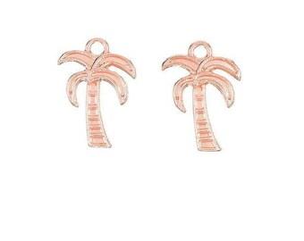 x 2 palmiers pendentif breloque 18 mm tropical métal doré rose