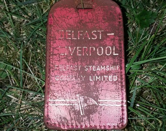Harland an Wolff found leather belfast steam company tag titanic interest rare