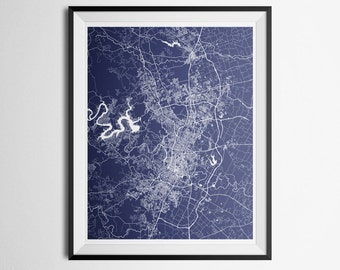 Austin, Round Rock, Texas Metro Area Abstract Street Map Print