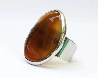 Ring with big brown agate, ring with stone, brown ring, big ring, boho ring, ring with agate, stylish ring, adjustable ring, natural stone