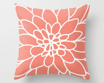 Dahlia Flower Pillow with insert - Coral Flower Pillow - Accent Flower Pillow - Modern Flower Pillow - Designer Home Decor -