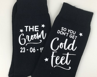Personalised Don't Get Cold Feet Wedding Socks for the Groom