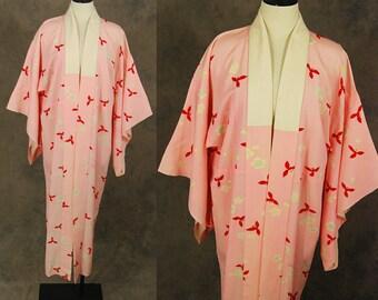 vintage 40s Kimono Robe - 1940s Floor Length Silk Kimono - Pink Floral Juban Kimono Dressing Gown Sz S M L