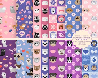 Puppies and kittens digital paper  backgrounds, dog and cat digital paper - INSTANT DOWNLOAD