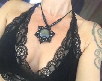Obsidian macrame necklace- Mandala macrame pendant- yoga jewelry- Elven macrame.