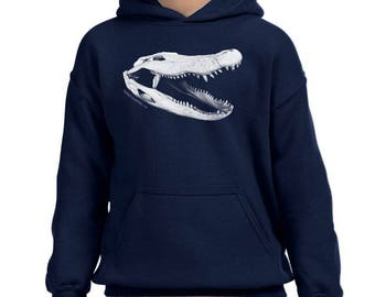 Alligator Skull Kids Hooded Sweatshirt - Hooded Navy Sweatshirt - Youth Sweatshirt - Reptile Shirt