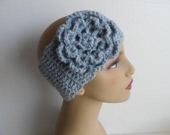 Crochet flower headwrap, head wrap, light blue, ear muff, ear warmer, head band, headband, womens accessores