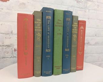 Colorful Book Set - Rainbow Books - Scholarly Press Books - Shelf Decor - Book Lot - Old Books - Library Shelf - Decorative Books