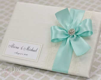 Wedding Guest Book Ivory Aqua Blue Custom Made in your Colors