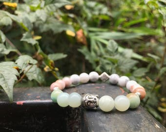 Beautiful 7 1/2 inch Antique Silver Buddha Amazonite, Howlite & Pink Fluorite with Sterling Silver Findings
