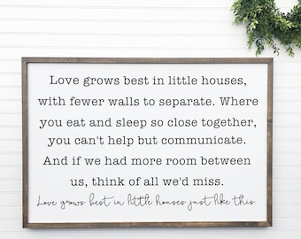 Love Grows Best In Little Houses Just Like This, Framed Wood Sign Hand Painted Wood Sign, Rustic Home Decor, Farmhouse Decor, Housewarming