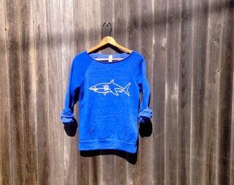Swimming in the Deep End Shark Sweatshirt, Shark Shirt, Yoga Pullover, Off Shoulder Top, Shark Gift, S-XXL