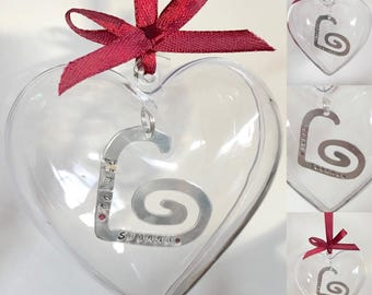 Heart Bauble Hand Stamped Decoration