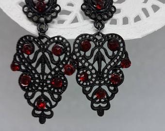 Chandelier black earrings, Black statement earrings, Long black earrings, Black filigree earrings, Black evening earrings,Gift for her
