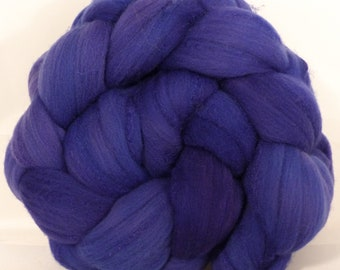 Hand dyed top for spinning -Grape Hyacinth  (5.2 oz.)Rambouillet /tussah silk (75/25)
