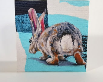 Rear View - a reproduction from an original painting of a cottontail rabbit viewed from behind by artist Karine Swenson