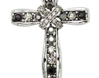 Swarovski Element Crystals Ribbon Cross Pin Brooch (black)