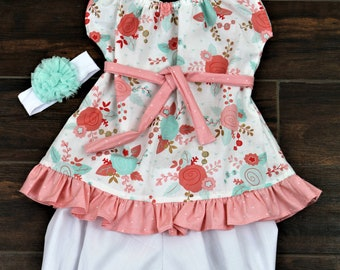 Boho gathered neck with tie and ruffle girl shirt