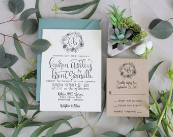Rustic Floral Wreath Wedding Invitation . Rustic Wreath Wedding Invite . Floral Wreath Invitation