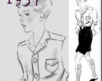 Shirt and Shorts for a 12 year old boy - 1930's - Vintage Reproduction PDF Pattern - made from original 1937 Pattern
