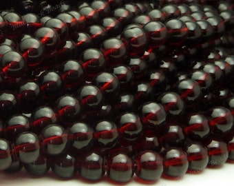 8mm Garnet Red Round Glass Beads - Smooth, Shiny Beads - 25pcs - BN32